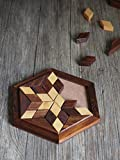 Small Wooden 30-Piece Star Jigsaw/Tangram Puzzle Board- Wooden Toy Game - Brain Teaser - 6 x 6 Inches