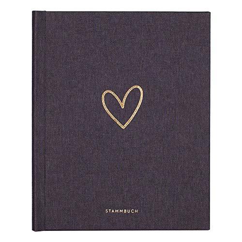 JO & JUDY Familienstammbuch   Hochzeit   Dunkelgrau mit Goldfolienprägung - 16,6 x 22 cm - 10 Inhaltsseiten - Froschtasche - 6-fach Ringmechanik