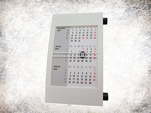 Toner und Tinten Fuchs Tischkalender für 2 Jahre (2019/2020) mit Drehmechanik weiß /schwarz