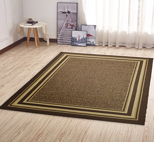 Ottohome Collection Brown Colour Contemporary Anti Slip Bordered Design 150  X 200 CM Area Rug Carpet Non Slip With Non Skid Rubber Backing Living Room  ... Part 52