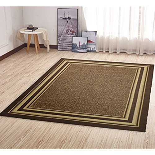 Ottohome Collection Brown Colour Contemporary Anti Slip Bordered Design 150  X 200 CM Area Rug Carpet Non Slip With Non Skid Rubber Backing Living Room  ...