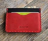 Leder Rotes und schwarzes Ausweishülle, Portemonnaie, langlebige Aufbewahrung von Kreditkarten und Banknoten. Geldbörse, Personalisiertes Geschenk mit Prägung, Gravur, Lederbrieftasche Kartenhülle