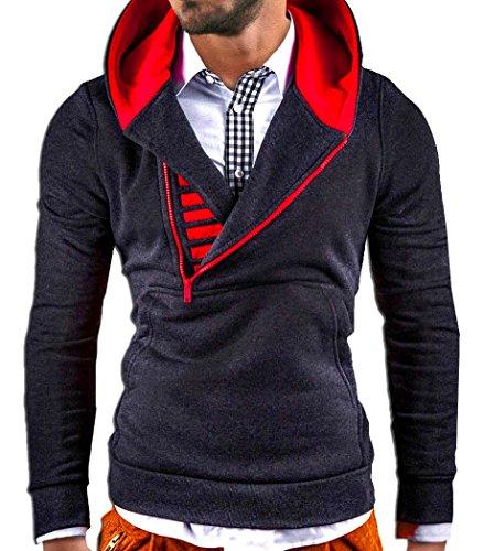MT Styles Kapuzenpullover Hoodie Dunkelgrau/Red Zip S-111 [S] (Kapuzenpullover Bekleidung Red)