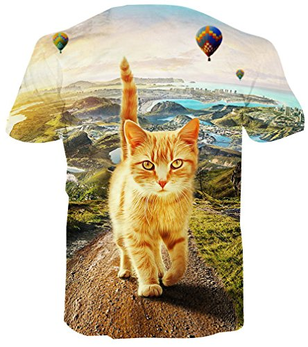 Pizoff Unisex Print Schmale Passform T Shirts mit Karikatur Katze 3D Druckmuster C7058-09