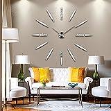 DIY 3D Große Wanduhr Modelle Dekoration Spiegel Aufkleber Wandsticker Große Uhr Geschenk Empfehlen (Silber)