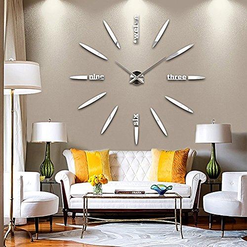 DIY 3D Große Wanduhr Modelle Dekoration Spiegel Aufkleber Wandsticker Große Uhr Geschenk Empfehlen (Silber) -