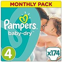 Pampers Baby Dry  - Pañales para bebés, Talla 4 (8-16kg), 174 unidades