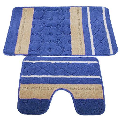 Textiles Universels Ensemble de Tapis de Bain et Contour de lavabo (Taille Unique) (Bleu/Beige)