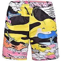 FENICAL Pantalones Cortos de Verano de la impresión Creativa de la Historieta Que nadan Escritos Beachwear Pantalones de Playa de Secado rápido Talla XL