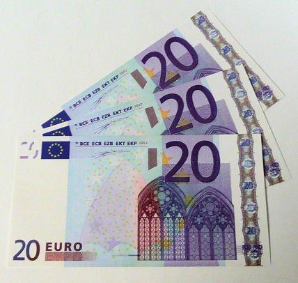 Geschenkartikel 1 Stück '20er Euro-Ersatz-Schein' 125%, einseitig, Spielgeld (blau) - andere Mengen im Amazon-Shop - Blaue Euro-schein