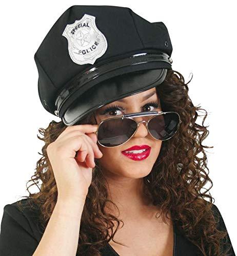 KarnevalsTeufel Zubehör - Set Polizist / Polizistin für Erwachsene, 2-TLG. Mütze (Gr. 56 cm) und Pilotenbrille, schwarz | Police, Kostüm, Karneval, Junggesellenabschied