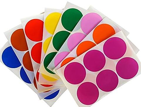 coloré ronde 5,1cm pouce Stickers (50mm) Dot Labels–Assortiment de couleurs: Rouge, Bleu, Vert, Jaune, Violet, Orange, marron et rose–faciles à décoller Autocollant 48étiquettes Lot...