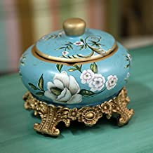 CKH European Retro With Covered Pottery Ashtray Male Personality Creative Decorations Bar Coffee Table Living Room Decoration ( Color : B )