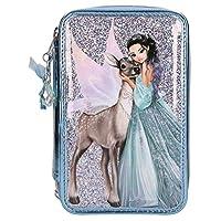 TOPModel 10690 Pencil case with 3 zips, Fantasy Model Iceprincess, 7,5 x 13 x 20 cm, Blue
