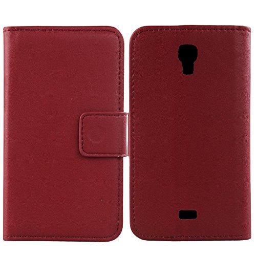 Gukas Design Echt Leder Tasche Für Wiko Bloom Hülle Lederhülle Handyhülle Handy Flip Brieftasche mit Kartenfächer Schutz Protektiv Genuine Premium Case Cover Etui Skin (Dark Rot)