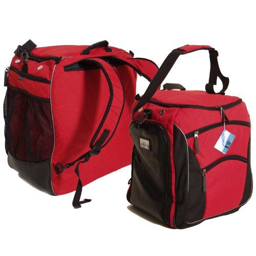 Brubaker Skischuhtasche PROFESSIONAL für Schuhe und Helm mit Rucksack-Tragegurten und Schaum-Rückenpolster Rot/Schwarz