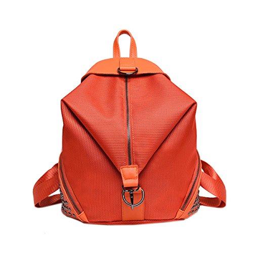 Niet Damen Licht Freizeit Große Kapazität Mode Individualität Rucksack Handtasche Orange