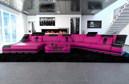 Mega Designer Leder Wohnlandschaft TURINO CL XL-Form pink-schwarz - 6