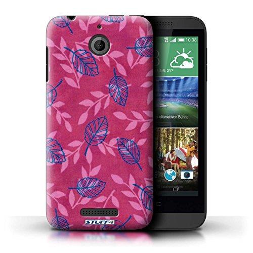 Kobalt® Imprimé Etui / Coque pour HTC Desire 510 / Rouge/Violet conception / Série Motif Feuille/Branche Rose/Bleu