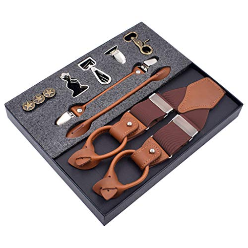 Mitlfuny Haare Frisuren Set,Haar Zubehör Styling Set,Hair Styling Accessories Kit Set,8 In 1 Fashion Hosenträger Lederclips Hosenträger Vintage Casual Suspensorio