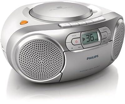 Philips AZ127 Lecteur CD/Cassette avec Tuner FM, entrée audio, amplification des basses, Argent par Philips