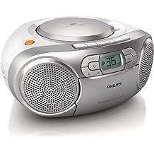 Philips AZ127 Soundmaschine (Dynamic Bass Boost, UKW-Tuner, 20 CD-Titel programmierbar, Kassetten-Deck) silber