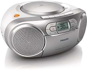 Philips AZ127/12 Soundmaschine (Dynamic Bass Boost, UKW-Tuner, 20 CD-Titel programmierbar, Kassetten-Deck) silber