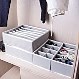 4Set Schublade Organizer Aufbewahrungsboxen faltbar Unterteiler Closet Unterwäsche BH Socken Reinigungstuch Organisatoren grau
