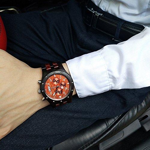 BEWELL Natur Holzuhr Herrenuhr Multifunktionale Quartz Hypoallergene mit Kalender Anzeige Chronograph-Funktion Hölzerne Uhren für Männer W109D (Ebenholz und Rotes Sandelholz) - 6