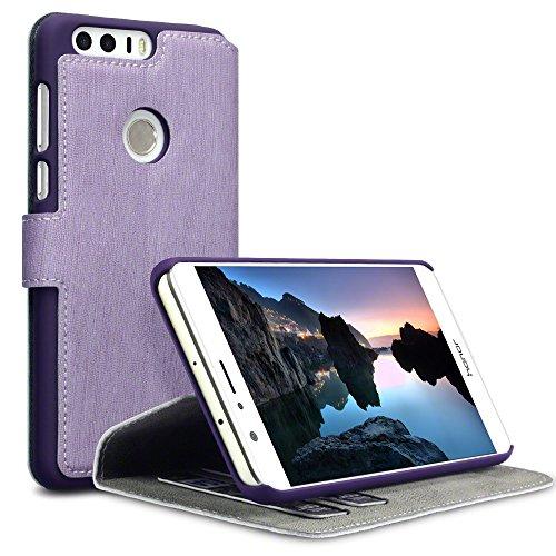 Huawei Honor 8 Hülle, Terrapin Leder Tasche Case Hülle im Bookstyle mit Standfunktion Kartenfächer für Huawei Honor 8 Hülle Lila