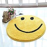 WJHW Hochflor Shaggy Rund Teppich Carpet Wohnzimmer Vers Farben & Größen, Farbe:Gelb, Größe:130 cm,A,80CM