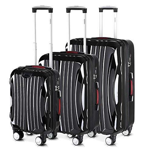 Monzana Valigie Set di 3 pezzi Ikarus M, L, XL nero Porto USB Lucchetto TSA valigia bagaglio viaggio trolley