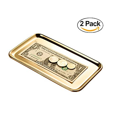 IMEEA® Small Rectangle Organizer Tray for Wallets, Cash, Coins, Keys, and Jewelry SUS304 Stainless Steel, 8 x 5.4 inch, 2-Piece