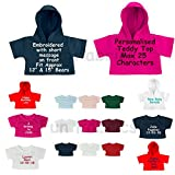 """Personalised Teddy Bear Clothes T-Shirts and Hooded Tops to fit 15"""" Build a Bear and 12"""" Teddies"""
