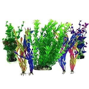 PietyPet Artificial Aquatic Plants, 7 Pcs Large Aquarium Plants Plastic Fish Tank Decorations, Vivid Simulation Plant Creature Aquarium Landscape
