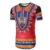 Kanpola Herren T-Shirts Slim Fit Oversize African Print Bedruckte Kurzarm Shirt