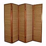 Décoshop26 Paravent 5 Panneaux Marron en Bois et Bambou 220x175 cm PAR06068