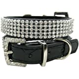 Black Faux Leather Diamante Dog Collar for Large Dogs (Size: Large - 45cm)