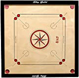 #10: KORNERS Sky Full size(Large) 32' Inches Cut Pocket Carrom Board with COINS, STRIKER & CARROM POWDER