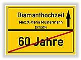 Geschenkidee zur Diamanthochzeit - 60 Jahre verheiratet - Diamant Hochzeit - Ortsschild Bild Geschenk zum Hochzeitstag - Jubiläum mit Namen und Datum