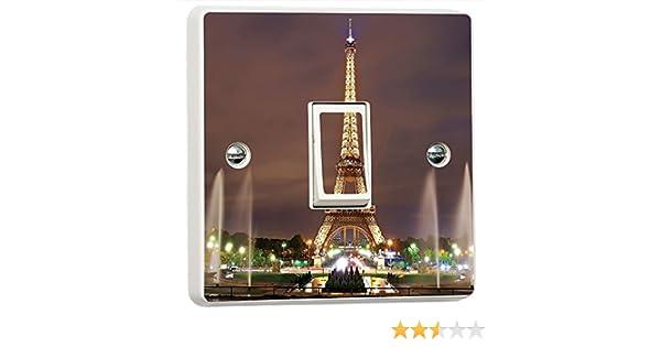Paris Eiffel Tower Blue Sky Light Switch Sticker Cover Vinyl Skin Wall Decal