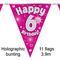 Happy 6th Birthday Pink Holographic Foil Party Bunting 3.9m Long 11 Flags