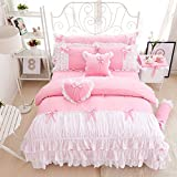 hxxkact Bettwäsche Set,Bettvolant Bettbezug Bettüberwurf Tagesdecke Europäischer Stil Dekoration Princess Baumwolle-Rosa 200x220cm(79x87inch)