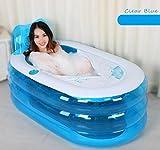 OOFWY Bañera de hidromasaje Espesado Inflable para Adultos Plegable Baño Barril de plástico Bañera Baño Barriles Barriles de baño (Enviar la Bomba de Aire), C, L