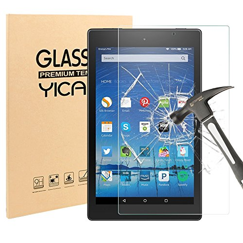 Fire HD 8 Schutzfolie Panzerglas,Yica Displayschutzfolie folie für Fire HD 8 Tablet (5. Generation / Das neue 6. Generation 2016) [9H Härte] [Anti-Kratzen] [Anti-Bläschen] Fire Hd 6 Kindle-fall