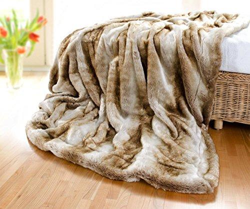 Premium couverture en fourrure loup clair 240 x 260 cm en fausse fourrure