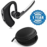 Captcha Voyager Legend Bluetooth Headset With Mic Talk & Music Anti Radiation Voice Control Headset With Round Earphone Carrying Case - Multi Purpose Pocket Storage Compatible With Xiaomi, Lenovo, Apple, Samsung, Sony, Oppo, Gionee, Vivo Smartphones (