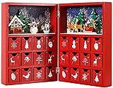 Brubaker Adventskalender Buch zum Aufstellen Holz Rot 21 x 9 x 30 cm