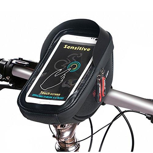 Fahrrad Lenkertasche Fahrradtasche Rahmentasche Handyhalterung Navigationshalterung Wasserdicht Groß 6.0 Inches Sensitive Touch-Screen Schwarz