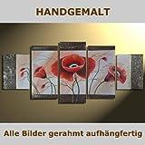 HANDGEMALT: 5 LEINWANDBILDER BILDER [MOHN 6] 150 x 70cm. Bilder auf Holzrahmen gespannt und kann SOFORT aufgehangen werden!